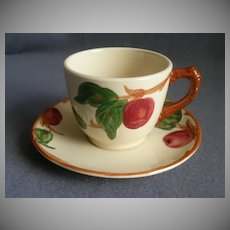 """Set of 4 Vintage Franciscan China """"Apple"""" Pattern Cups & Saucers"""