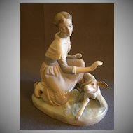 "Lladro ""Caressing A Little Calf"" Porcelain Sculpture  #4827"