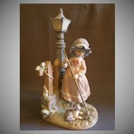 "Lladro ""Fall Clean-Up"" Porcelain Sculpture  #5286"