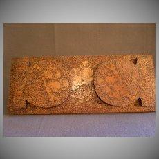 Arts & Crafts Era Pyrography Folding Book Rack w/Owls Motif