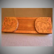 Arts & Crafts Era Pyrography Folding/Expandable Book Rack w/Native American Image & Motto Motif