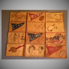 """Vintage Grouping of Twelve """"Leather"""" Post Cards"""
