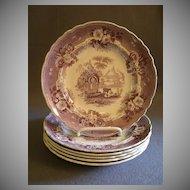 "Set of 6 T & J Mayer Mulberry Transfer-ware Salad/Dessert  Plates ""Abbey Ruins"" Pattern"