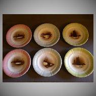 Set of 6 Porcelain Salad/Dessert Plates w/Oriental Fishing Vessels & Boats Transfers