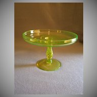 "Tiffin Vaseline (Uranium) Glass ""Spiral Optic"" Round, Stemmed Tazza"