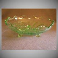 "Fenton Green Transparent ""Stag & Holly"" Scalloped Bowl w/Ball Feet"
