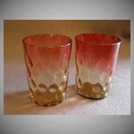 Pair of Amberina Tumblers in Inverted Thumbprint Pattern