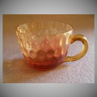 Reverse Amberina Glass Punch  Cup in Inverted Baby Thumbprint Pattern w/Clear Amber Handle