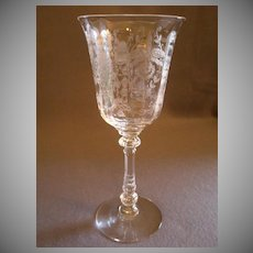 "Heisey Glass ""Orchid"" Pattern Water Goblet - Stem #5025, Etch #507"