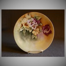 Home Studio Hand Painted Porcelain Cabinet Plate w/Pansy Blossoms Motif
