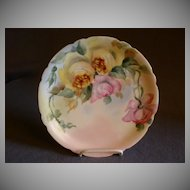 Jean Pouyat (JPL) Limoges Hand-Painted plate w/Yellow & Pink Roses Motif