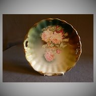 Germany Cake/Cookie Plate w/Transfer variegated  Colored Roses Motif
