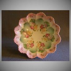 M Z Austria Porcelain Fluted Serving Bowl w/Transfer Roses Decoration