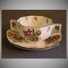 """Set of 6 Royal Doulton """"Old Leeds Spray"""" Bouillon Cups & Saucers"""