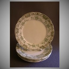 """Set of 6 Henry Alcock & Co. """"Elite"""" Pattern Luncheon Plates w/Floral & Scroll Motif"""