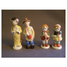 """Two Pair """"Occupied Japan"""" Porcelain Figurines - Oriental Couple & Young Boy & Girl"""
