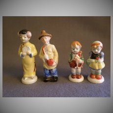 "Two Pair ""Occupied Japan"" Porcelain Figurines - Oriental Couple & Young Boy & Girl"