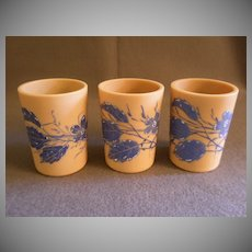 "Set of 3 ""Fireglow"" Art Glass Tumblers w/Enamel Floral Motif"