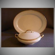 Bawo & Dotter Elite Limoges Oval platter & Covered Vegetable - White w/Gold