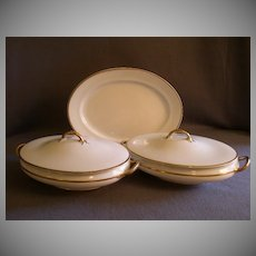 Pope Gosser China - Pop28 Pattern - Platter and Two Covered Vegetable Bowls - White w/Gold Trim