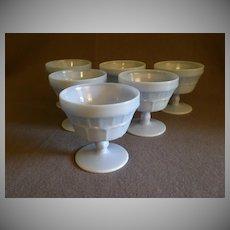 Set of 6 Jeannette Glass Company Delphite Blue Milk Glass Sherbets