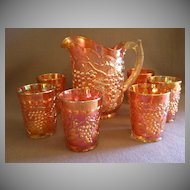 """Imperial Glass Company Marigold Carnival 7-Pc. """"Grape"""" Pattern  Water Set"""