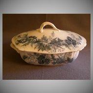 "Johnson Brothers Blue Transfer 'Paris"" Pattern Covered Vegetable Bowl"
