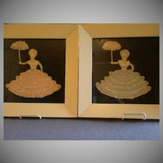 "Pair of Vintage Crocheted Pictures of ""Southern Belle"" Ladies"