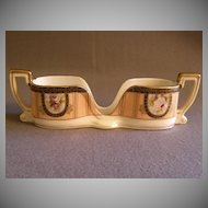 Vintage Noritake Hand Painted Spoon Holder w/Floral Cartouche Motif