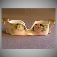 Vintage Noritake Hand Painted Spoon Holder w/Pastel PInk & Green Roses Motif