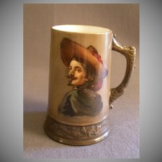 American Willets Belleek Hand Painted Tankard Stein w/ Portrait of Cavalier/Explorer