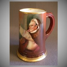 William Guerin Limoges Hand Painted Tankard Stein w/Portrait of a Monk