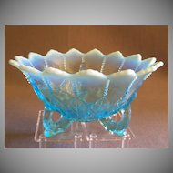 "Northwood Glass Blue Opalescent ""Leaf & Beads"" Footed Bowl"