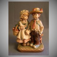 "Anri of Italy Limited Carving ""Boy & Girl Holding Hands"" 284/750 by Juan Ferrandiz"
