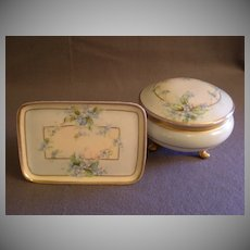 Home Studio Hand Painted Covered Powder Jar & Pin Tray