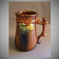 Peters & Reed Pottery Tankard Mug w/Sprigged Grape Motif