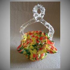 "Czechoslovakia Art Deco ""Spatter"" Glass Basket w/Clear Thorn Handle"