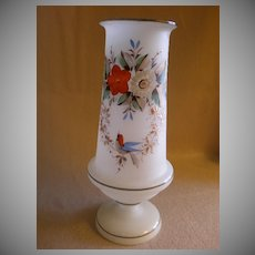 Victorian Bristol Glass Vase w/Hand-Painted Floral & Bird Motif