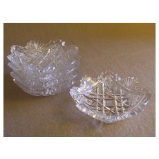 "Home Glass Company -  Set of 5 ""Brilliant"" Cut Glass Butter Pats - Bessie Pattern"