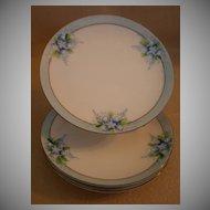 Noritake/Chikaramachi Porcelain - Set of 3 Hand Painted B&B or Dessert Plates w/Forget-Me-Not Motif
