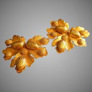 """Dominique Aurientis"" Sculptures Gold-Tone Oak Leaf w/Acorns Clip Earrings"