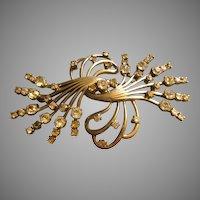 """Pennino"" Floral Swag Sterling Silver & Diamond Rhinestone Brooch"