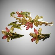 Coro Vendome Gold-Tone, Enamel & Colored Rhinestone Floral Design Brooch & Earrings