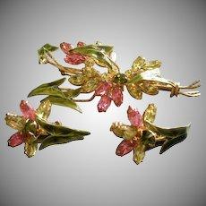 Coro Vendome Gold-Tone, Enamel & Colored Rhinestone Floral Design Brooch & Earrings