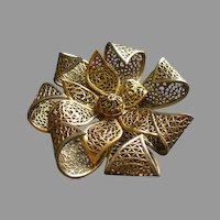 Coro Vendome Silver-Tone Filgree Floral Brooch