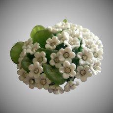 Coro Vendome Silver-Tone, Cast-Resin & Rhinestone Floral Brooch