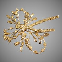 Coro Vendome Silver-Tone & Diamond Rhinestone Triple-Loop Bow Brooch