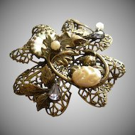 Miriam Haskell Russian Gold-Tone & Jeweled Elegant Filigree Brooch/Pendant
