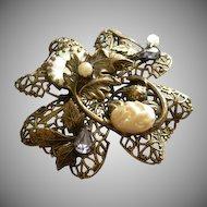 Miriam Haskell Russian Gold-Tone & Jeweled Elegant Filigree Brooch/Pendant