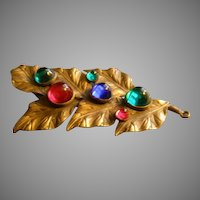 Vintage Ben Meltzer Brass & Colored Cabochon Dress Clip